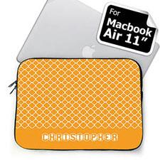 Custom Name Orange Quatrefoil MacBook Air 11 Sleeve