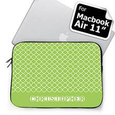 Custom Name Lime Quatrefoil MacBook Air 11 Sleeve