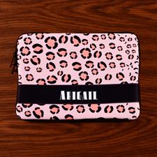 Custom Initials Pink Leopard Pattern MacBook Air 11 Sleeve