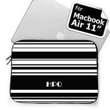 Custom Initials Black Stripes MacBook Air 11 Sleeve