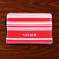 Custom Name Hot Pink Stripes MacBook Air 11 Sleeve
