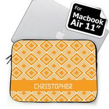 Custom Name Orange Diamonds MacBook Air 11 Sleeve