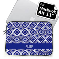 Custom Initials Blue Diamonds MacBook Air 11 Sleeve