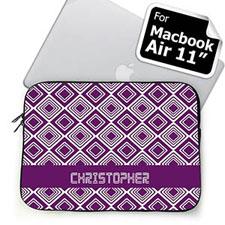 Custom Name Purple Diamonds MacBook Air 11 Sleeve