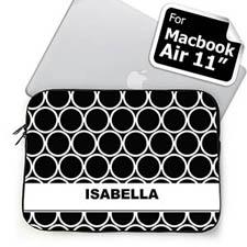 Custom Name Black Hoopla MacBook Air 11 Sleeve