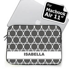 Custom Name Grey Hoopla MacBook Air 11 Sleeve