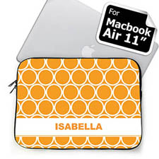 Custom Name Orange Hoopla MacBook Air 11 Sleeve