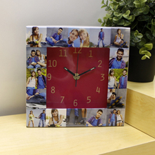 Hot Pink Large Face Collage Clock