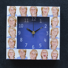 Blue Large Face Collage Clock