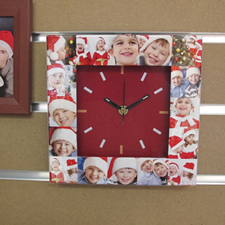 Red Large Face Basic Collage Clock