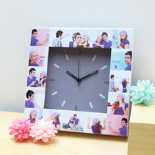 Silver Grey Large Face Basic Collage Clock