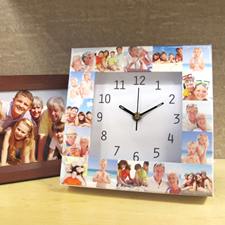 White Large Face Collage Clock