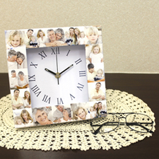 White Large Face Roman Collage Clock