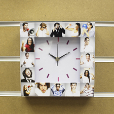 White Large Face Basic Collage Clock, Colorful