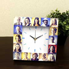 White Large Face Basic Collage Clock, Sky Blue