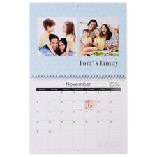 """Wall Calendar 14""""x11"""", Light Blue"""