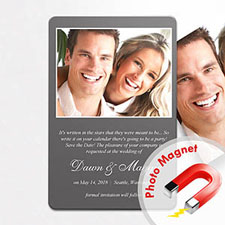 Personalized Grey Wedding Announcement Photo Fridge Magnets