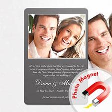 Personalized Grey Wedding Announcement Photo Fridge Magnets