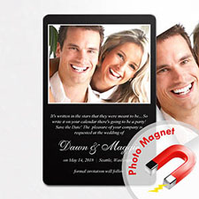 Personalized Black Wedding Announcement Photo Fridge Magnets