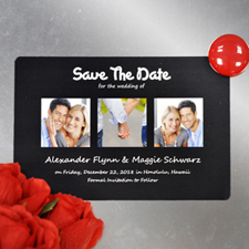 Create Save The Date Magnets, Puppy Love Black