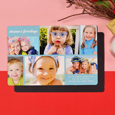 Create 6 Photo Christmas Blessing  Blue Fridge Magnets