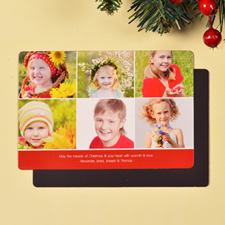 Create 6 Photo Very Merry  Red Fridge Magnets