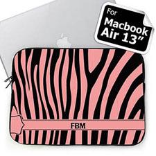 Custom Initials Black & Pink Zebra Pattern  MacBook Air 13 Sleeve