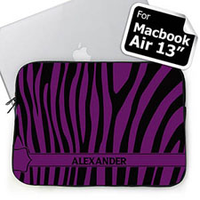 Custom Name Black & Purple Zebra Pattern  MacBook Air 13 Sleeve