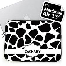 Custom Name Black Giraffe Pattern MacBook Air 13 Sleeve