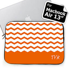 Custom Initials Orange Chevron MacBook Air 13 Sleeve