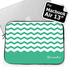 Custom Name Mint Chevron MacBook Air 13 Sleeve