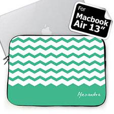 Custom Name Mint Chevron MacBook Air 13 Sleeve