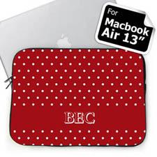 Custom Initials Red Polka Dots MacBook Air 13 Sleeve