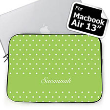 Custom Name Lime Polka Dots MacBook Air 13 Sleeve