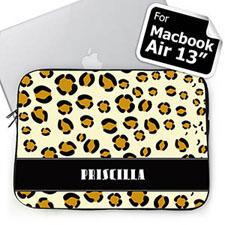 Custom Name Leopard Pattern MacBook Air 13 Sleeve