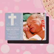 Personalized Framed Cross Boy Baptism 4x6 Large Photo Magnets