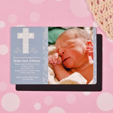 Personalized Framed Cross Boy Baptism 4x6 Large Photo Magnets