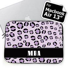 Custom Initials Purple Leopard Pattern MacBook Air 13 Sleeve