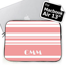 Custom Initials Pink Stripes MacBook Air 13 Sleeve