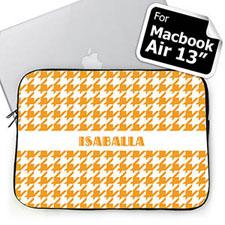 Custom Name Orange Houndstooth MacBook Air 13 Sleeve