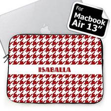 Custom Name Red Houndstooth MacBook Air 13 Sleeve