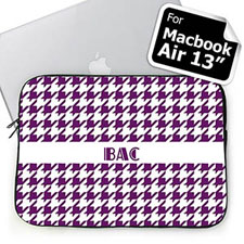 Custom Initials Purple Houndstooth MacBook Air 13 Sleeve