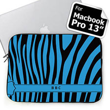 Custom Initials Black & Blue Zebra Pattern  MacBook Pro 13 Sleeve (2015)