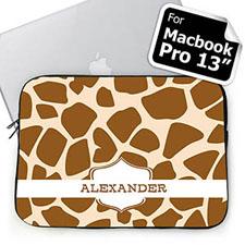 Custom Name Brown Giraffe Pattern MacBook Pro 13 Sleeve (2015)