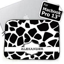 Custom Name Black Giraffe Pattern MacBook Pro 13 Sleeve (2015)