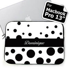 Custom Name Black Retro Circles MacBook Pro 13 Sleeve (2015)