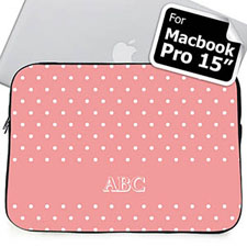 Custom Initials Pink Polka Dots MacBook Pro 15 Sleeve (2015)