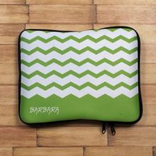 Custom Initials Green Chevron iPad Sleeve
