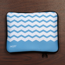 Custom Name Sky Blue Chevron iPad Sleeve