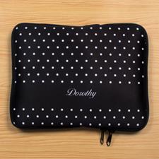 Custom Name Black Polka Dots iPad Sleeve